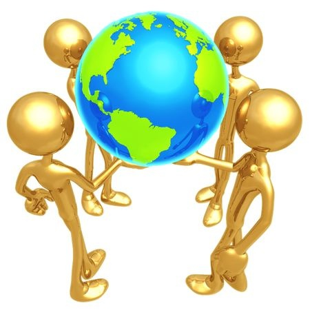 Gold figures holding Earth
