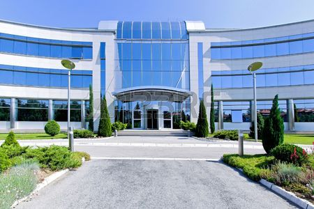 Front view of glass office building